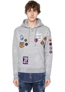 Dsquared2 Hooded Jersey Sweatshirt W/ Denim Hem