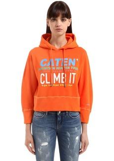 Dsquared2 Hooded Printed Cotton Fleece Sweatshirt