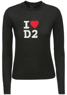 Dsquared2 I Love D2 Intarsia Knit Wool Sweater