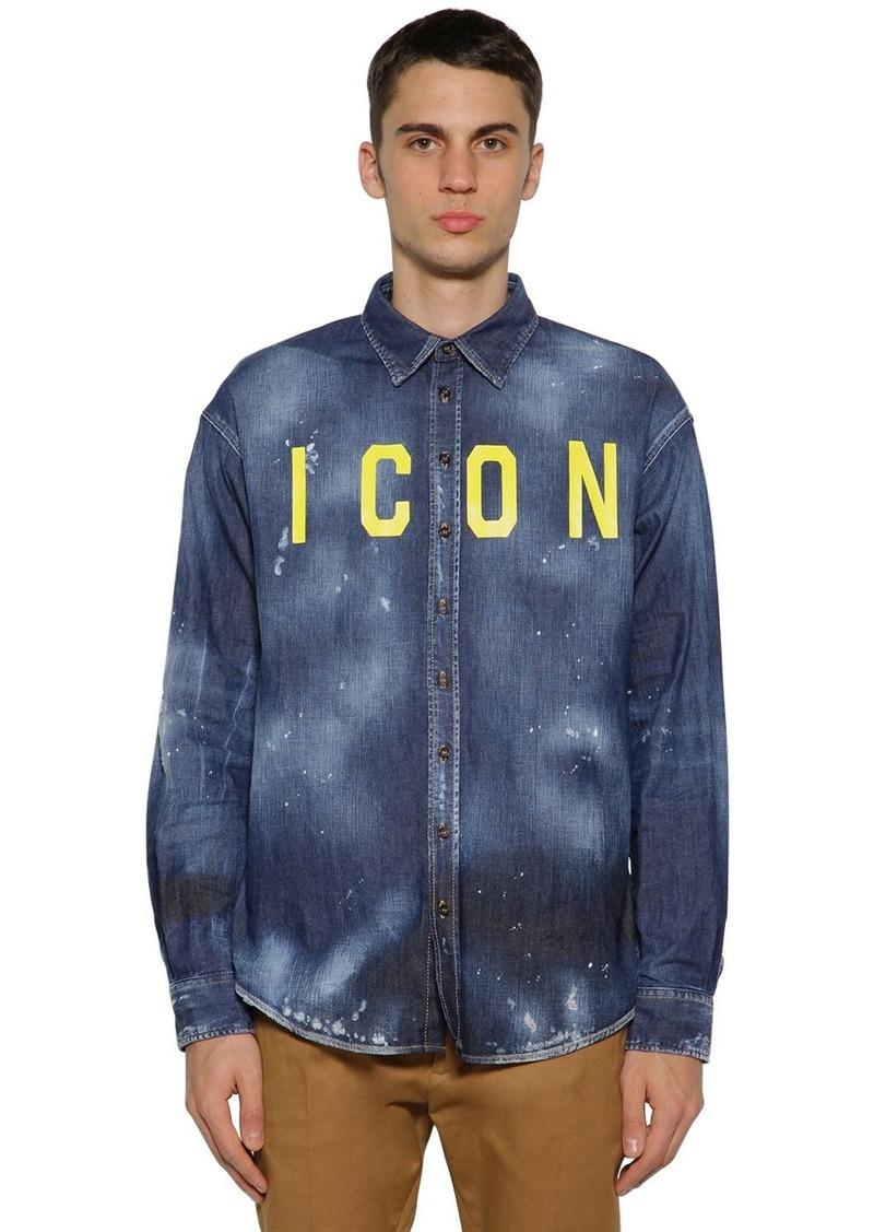 Dsquared2 Icon Print Stretch Cotton Denim Shirt