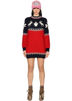 Dsquared2 Intarsia Wool Knit Dress