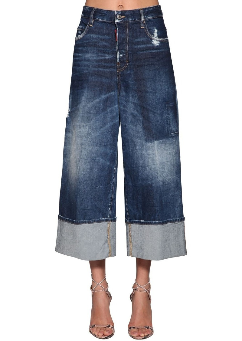 Dsquared2 Jinny Cropped Wide Leg Denim Jeans