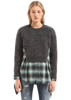 Dsquared2 Layered Sweater Plaid Shirt Dress