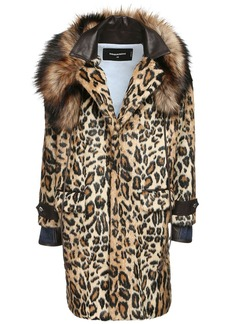 Dsquared2 Leo Print Faux Fur Short Coat