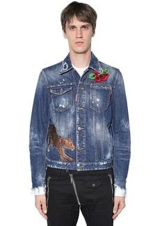 Dsquared2 Leopard Patch Cotton Denim Jacket