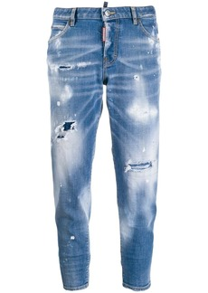 Dsquared2 Light Paint Fade Jennifer cropped jeans