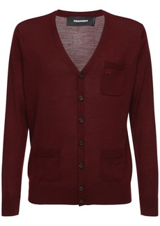Dsquared2 Logo Embroidered Wool Knit Cardigan