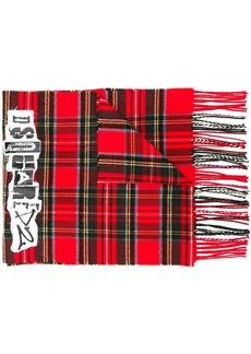 Dsquared2 logo patch tartan scarf