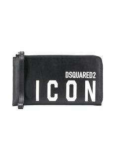 Dsquared2 logo print clutch bag