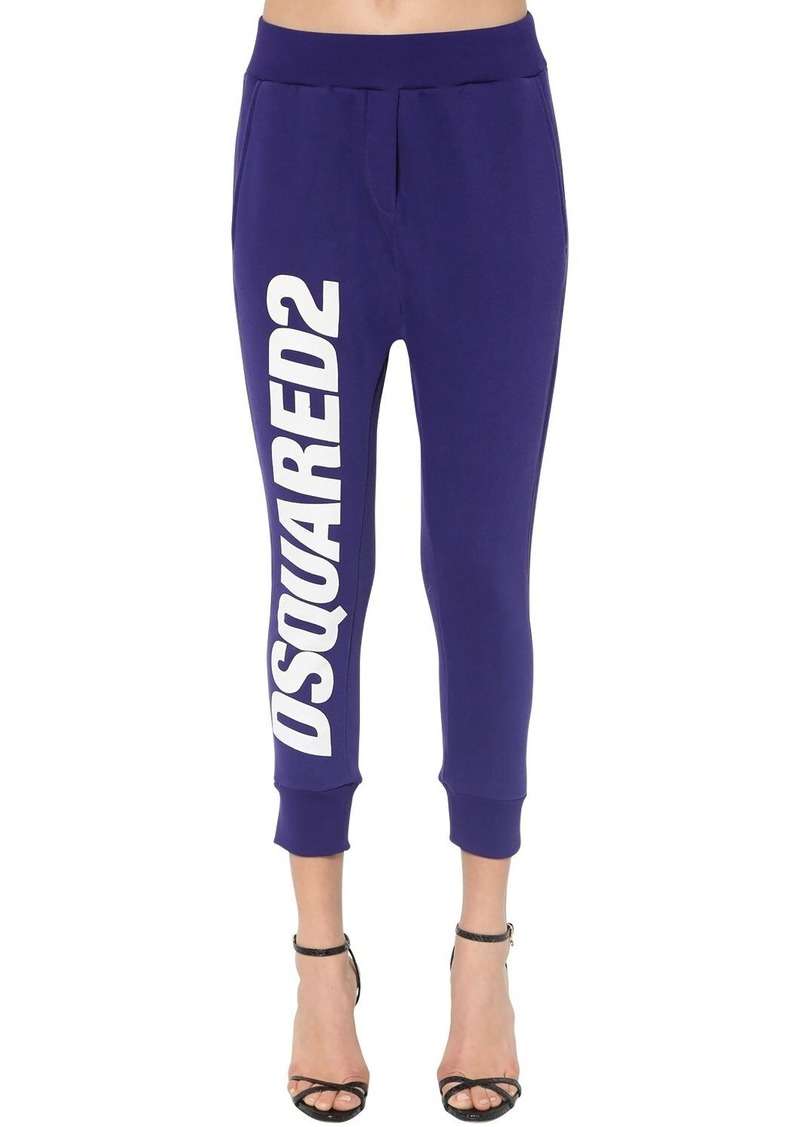 Dsquared2 Logo Print Cotton Jersey Sweatpants