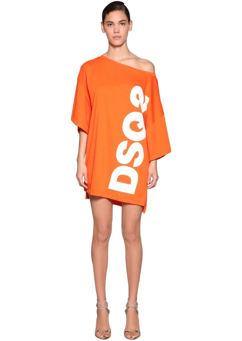 Dsquared2 Logo Print Cotton Jersey T-shirt Dress