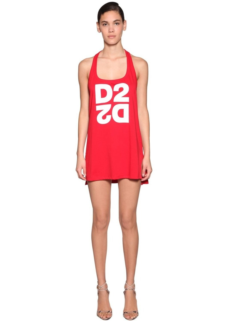 Dsquared2 Logo Print Cotton Jersey Tank Dress