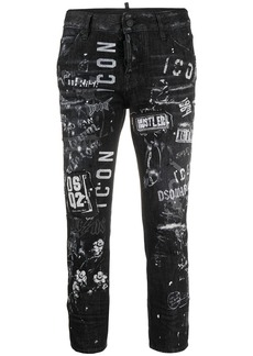 Dsquared2 logo print distressed cropped jeans