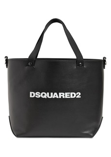 Dsquared2 Logo Print Leather Tote Bag