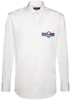 Dsquared2 Logo Print Relax Dan Cotton Poplin Shirt