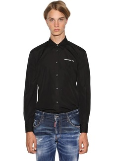 Dsquared2 Logo Print Relaxed Cotton Poplin Shirt