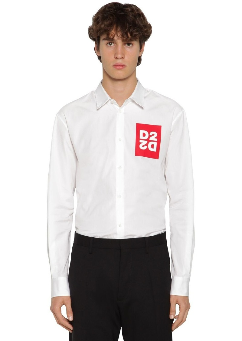 Dsquared2 Logo Print Relaxed Cotton Poplin Shirt