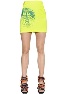Dsquared2 Logo Printed Cotton Blend Jersey Skirt