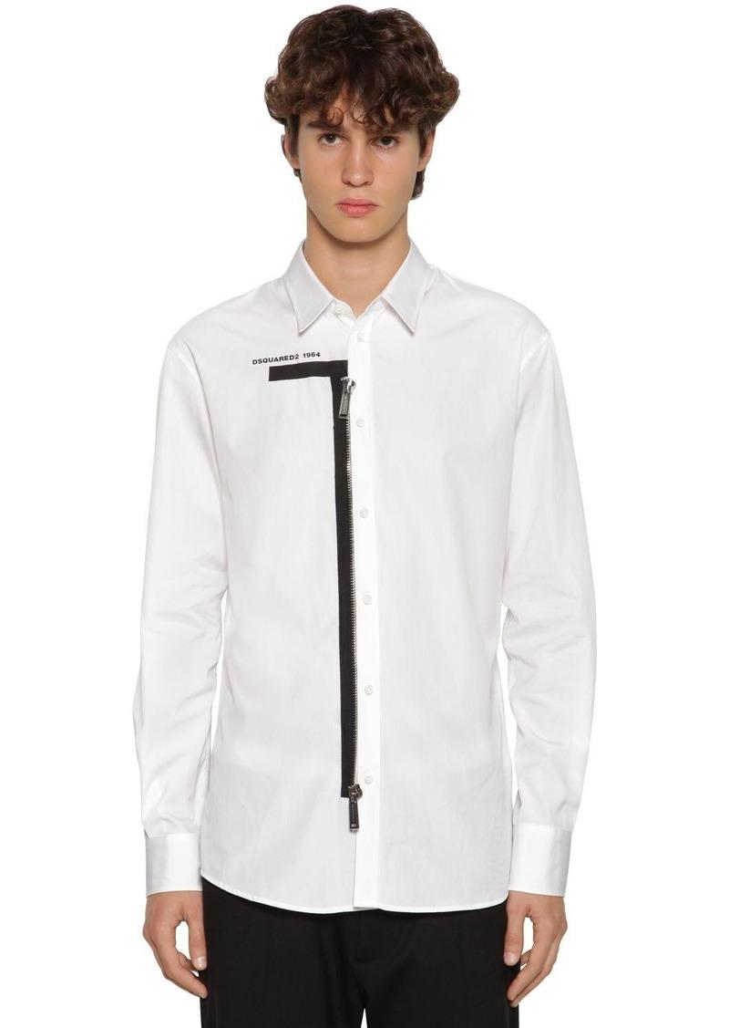 Dsquared2 Logo Printed Cotton Poplin Shirt W/ Zip