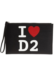 Dsquared2 Logo Printed Leather Pouch