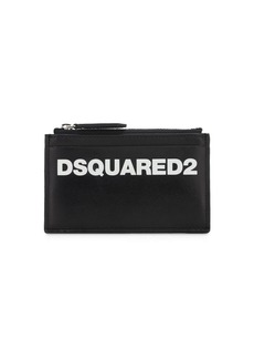 Dsquared2 Logo Printed Leather Zip Card Holder