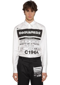 Dsquared2 Logo Printed Stretch Cotton Poplin Shirt