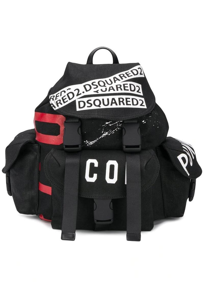 Dsquared2 logo tape backpack