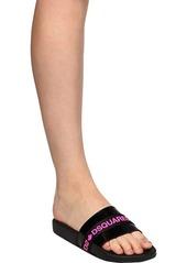 Dsquared2 Logo Tape Patent Leather Slide Sandals