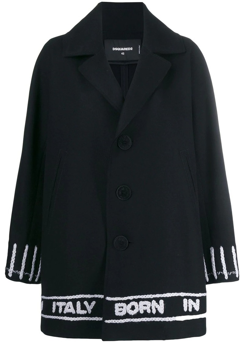 Dsquared2 logo tape single breasted coat
