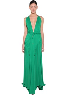 Dsquared2 Long Light Viscose Crepe Dress