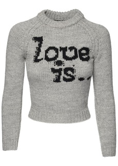 Dsquared2 Love Is Wool Intarsia Cropped Sweater