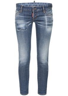 Dsquared2 Pat Low Waist Stretch Denim Skinny Jeans