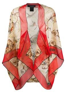 Dsquared2 macaque-print chiffon shawl