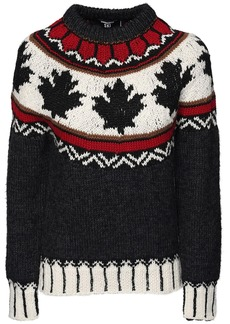 Dsquared2 Maple Leaf Intarsia Wool Knit Sweater