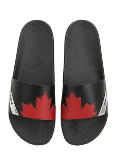 Dsquared2 Maple Leaf Leather Slide Sandals