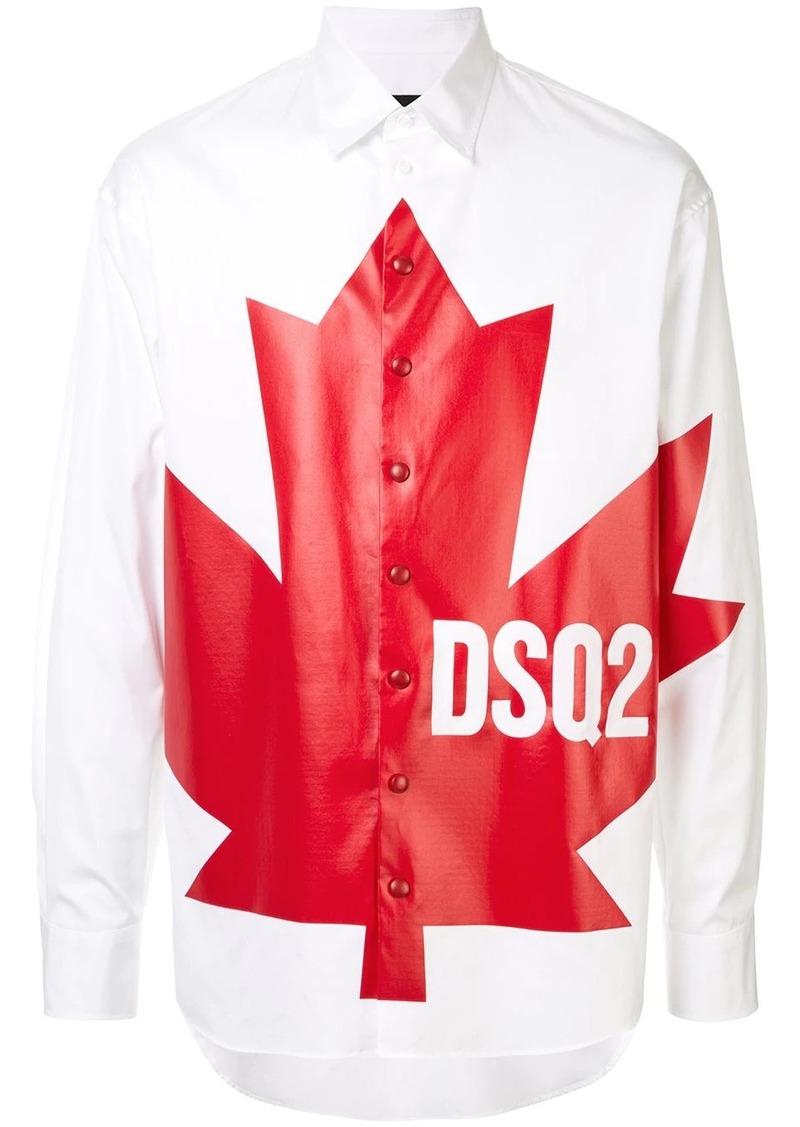 Dsquared2 maple leaf print shirt