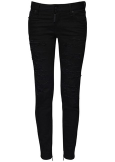 Dsquared2 Medium Waist Skinny Ripped Wash Jeans