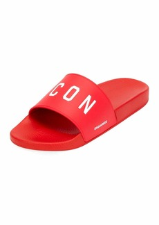 Dsquared2 Men's Logo Rubber Slide Sandals  Red/White