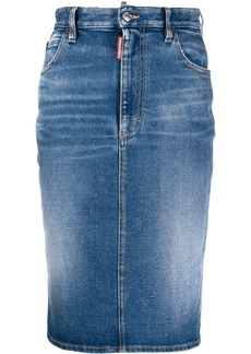 Dsquared2 mid-length pencil denim skirt