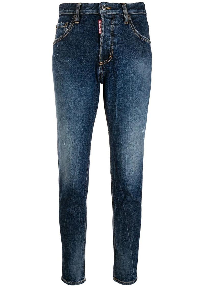 Dsquared2 mid rise logo apliqué jeans
