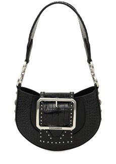 Dsquared2 Mini Croc Embossed Leather Shoulder Bag