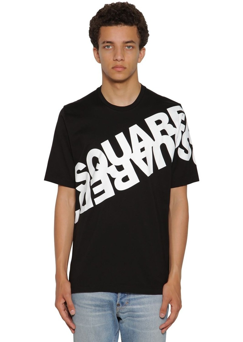Dsquared2 Mirror Logo Print Cotton Jersey T-shirt