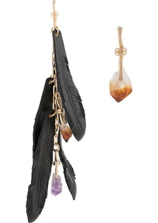 Dsquared2 mismatch crystal and feather earrings