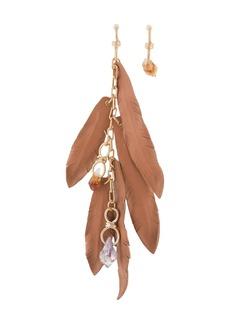 Dsquared2 mismatch feather-motif earrings