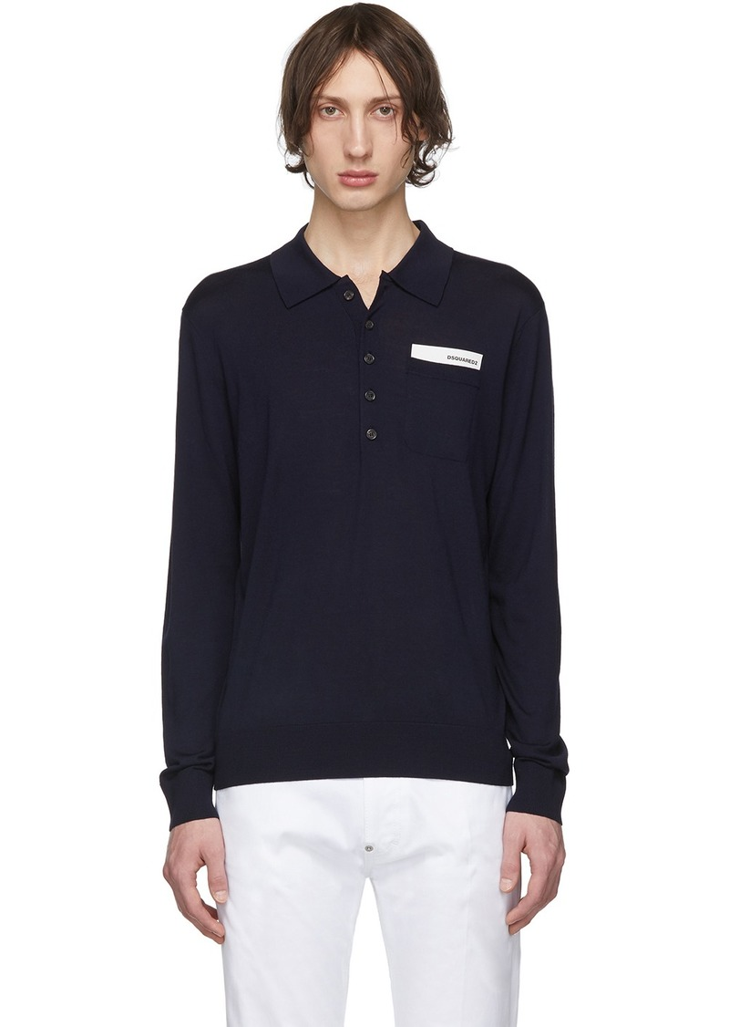 Dsquared2 Navy Pocket Long Sleeve Polo