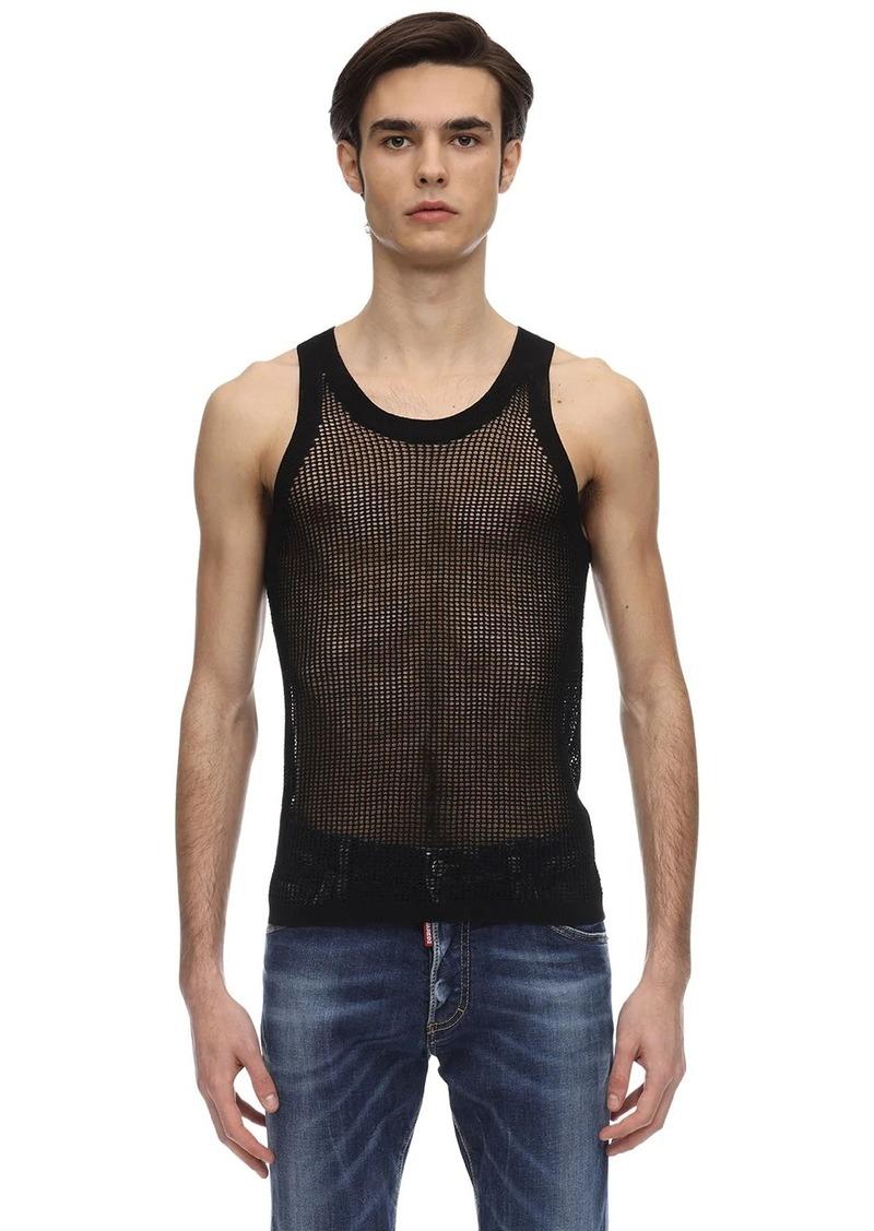 Dsquared2 Net Cotton Knit Tank Top