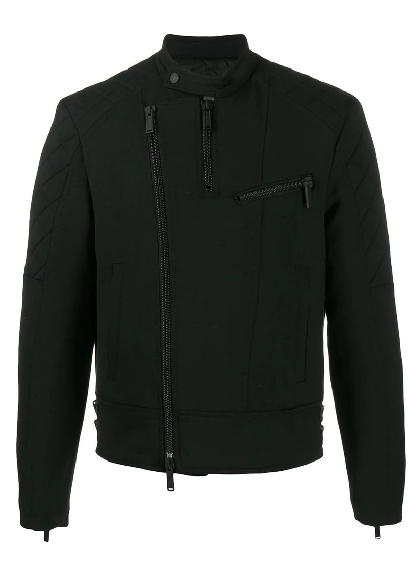 Dsquared2 off-centre zipped biker jacket