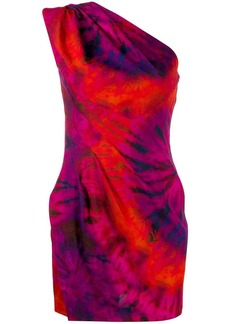 Dsquared2 one shoulder tie-dye dress
