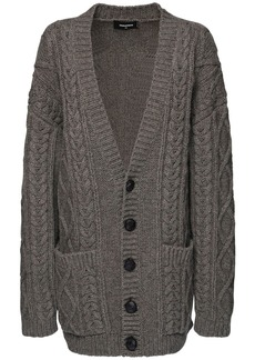 Dsquared2 Oversized Wool Cable Knit Cardigan