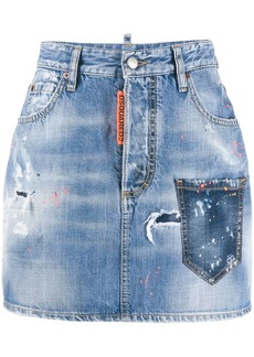 Dsquared2 paint splatter denim skirt